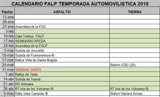 Palmas Calendario.Asi Sera La Temporada 2018 En La Federacion De Automovilismo